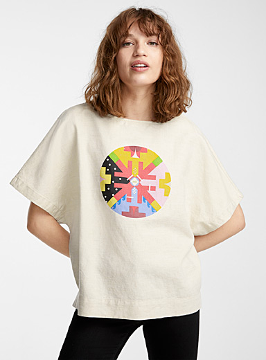 IFWTO + Edito par Simons Assorted Printed circle boxy blouse  Jordan Bennett for women