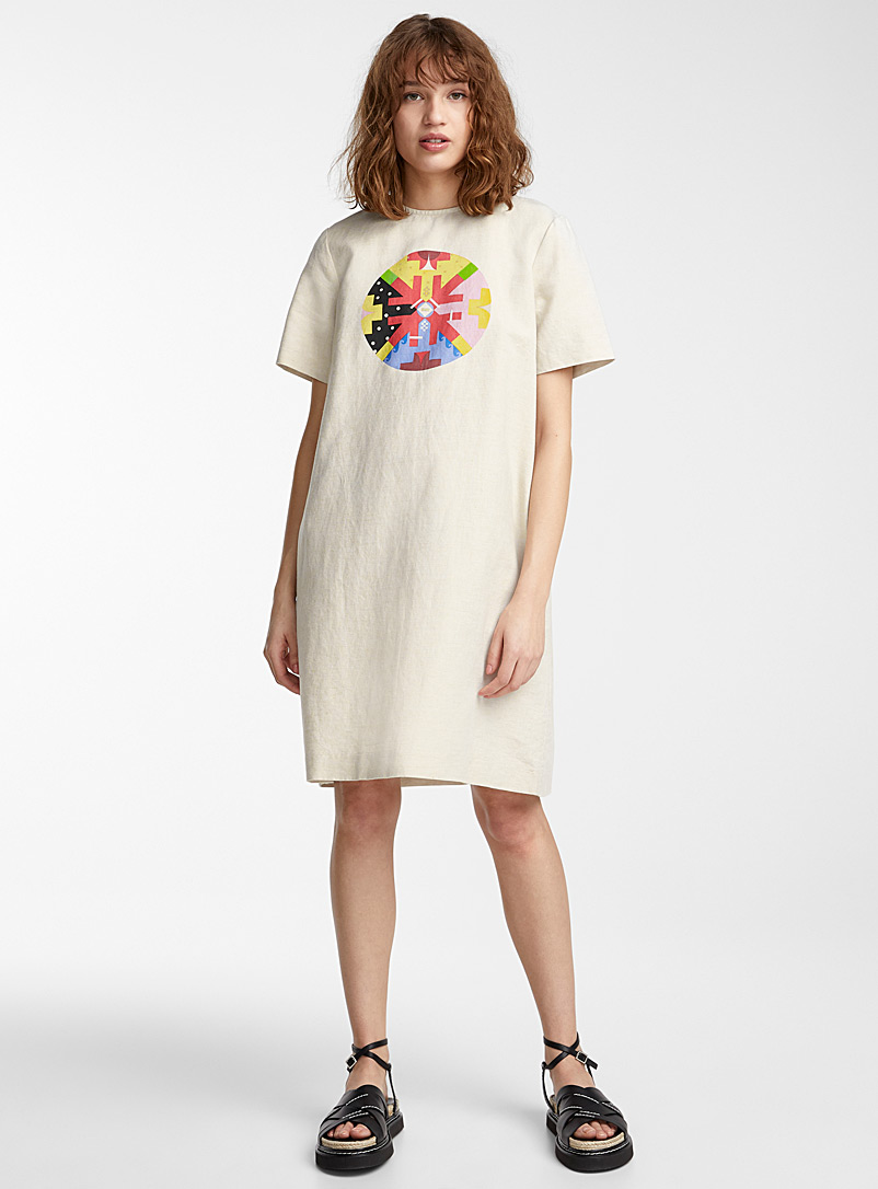Printed circle shift dress  Jordan Bennett