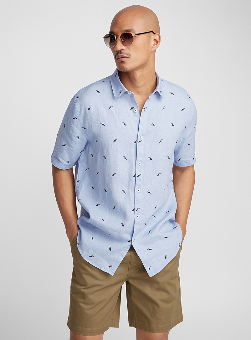 Desert premium linen shirt  Modern fit - Patterns - Baby Blue