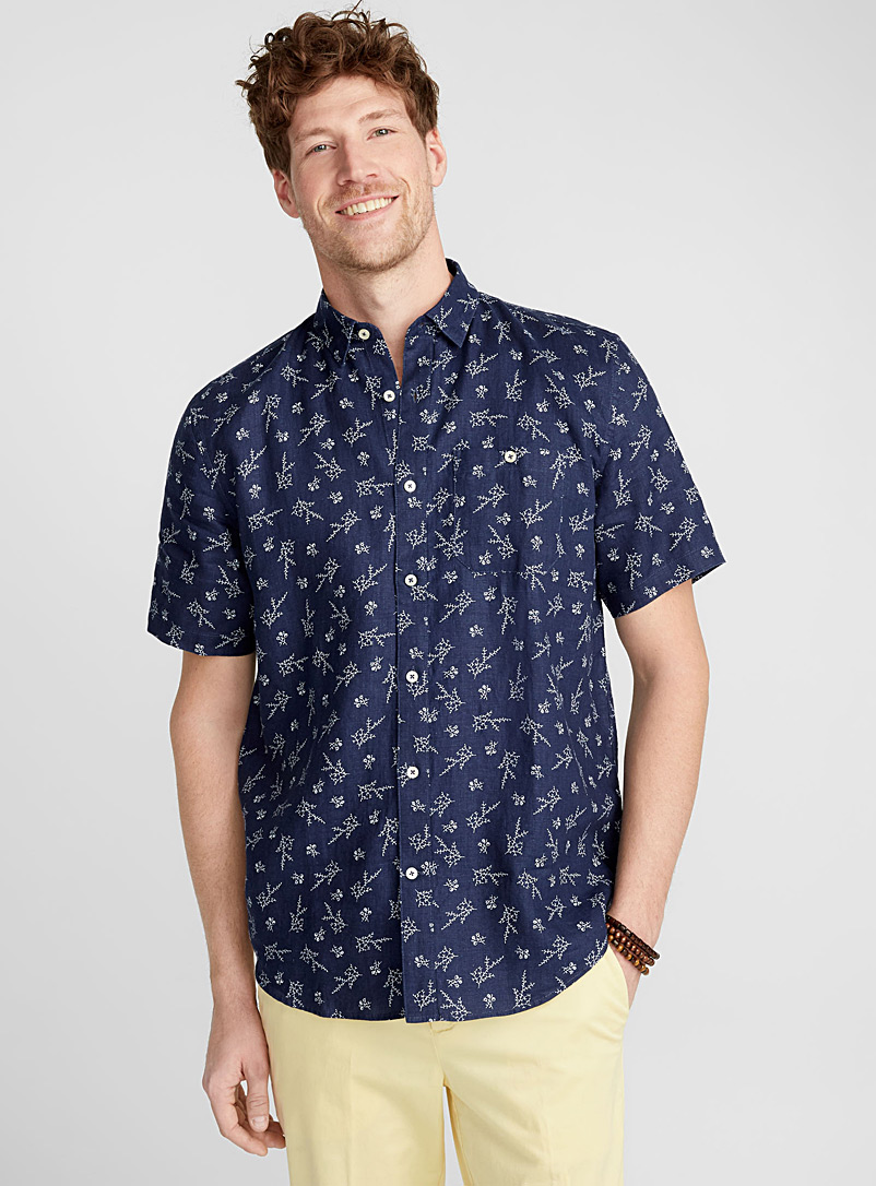 Floral premium linen shirt  Comfort fit - Patterns - Marine Blue