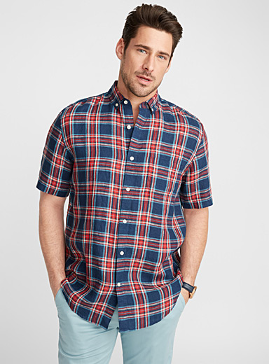 Checkerboard premium linen shirt  Comfort fit