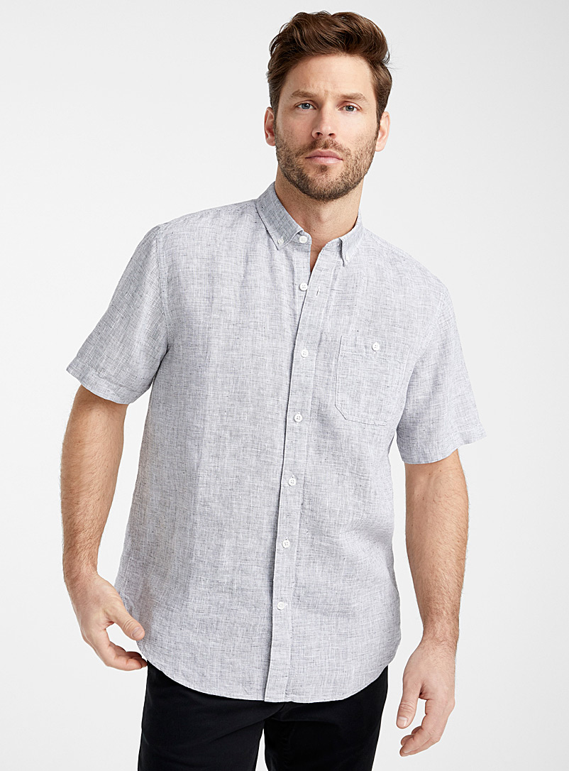 Le 31 Grey End-on-end pure linen shirt  Comfort fit for men