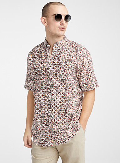 Pure linen mosaic shirt  Comfort fit