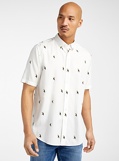 Le 31 Patterned White Bamboo rayon and lyocell summer shirt  Modern fit for men