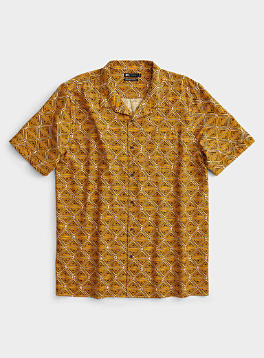 Le 31 Patterned Yellow Pop summer camp shirt  Comfort fit for men