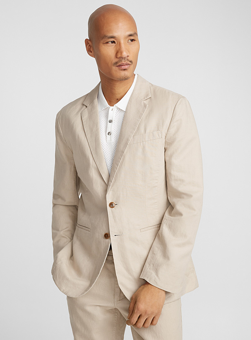 Cotton and linen jacket  London fit-Semi-slim - Semi-slim Fit - Ecru/Linen