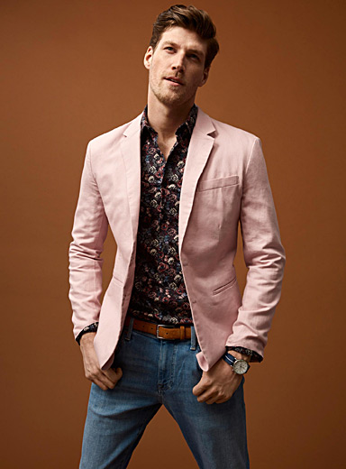 Cotton and linen jacket  London fit-Semi-slim