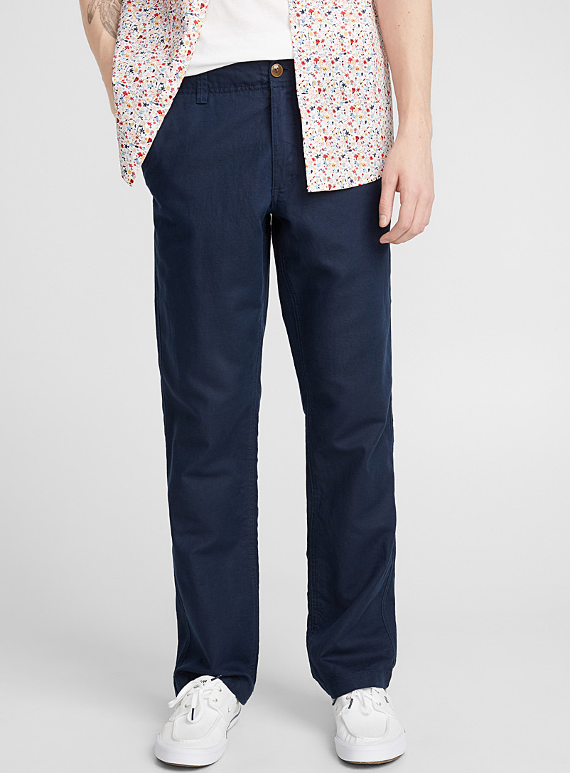 Cotton and linen adjustable-waist pant  Sydney fit - Straight - Straight fit - Marine Blue