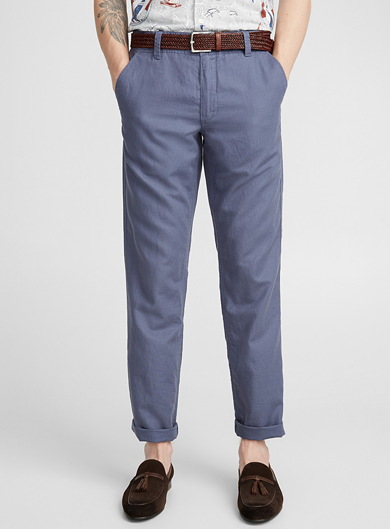 Cotton-linen pant  Sydney fit - Straight - Straight fit - Slate Blue