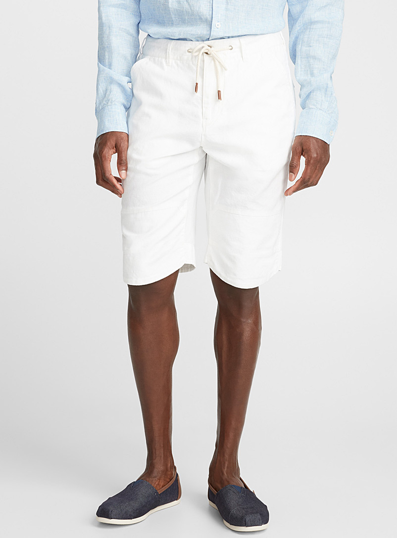 Cotton and linen Bermudas - Bermudas - Ivory White