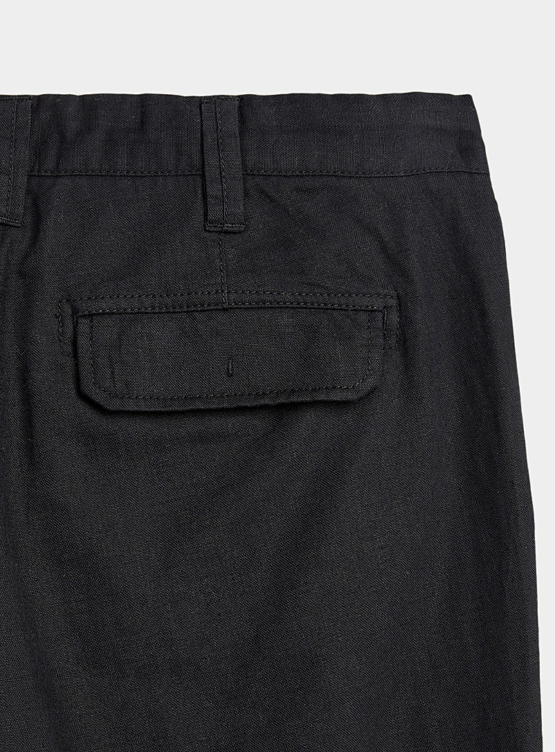 Le 31 Black Adjustable waist organic cotton and linen pant  Sydney fit - Straight for men