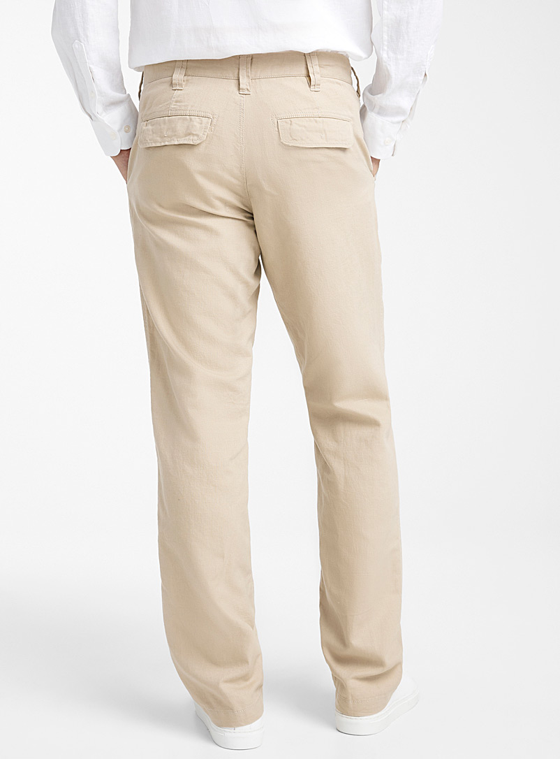 Le 31 Marine Blue Adjustable waist organic cotton and linen pant  Sydney fit - Straight for men
