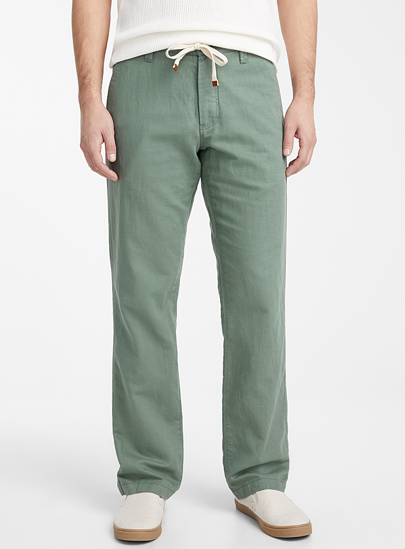Le 31 Green Adjustable waist organic cotton and linen pant  Sydney fit - Straight for men