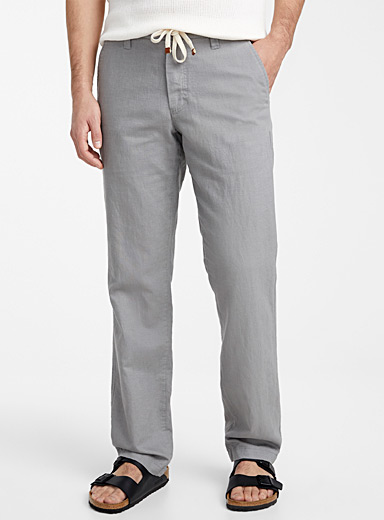 Le 31 Grey Adjustable waist organic cotton and linen pant  Sydney fit - Straight for men