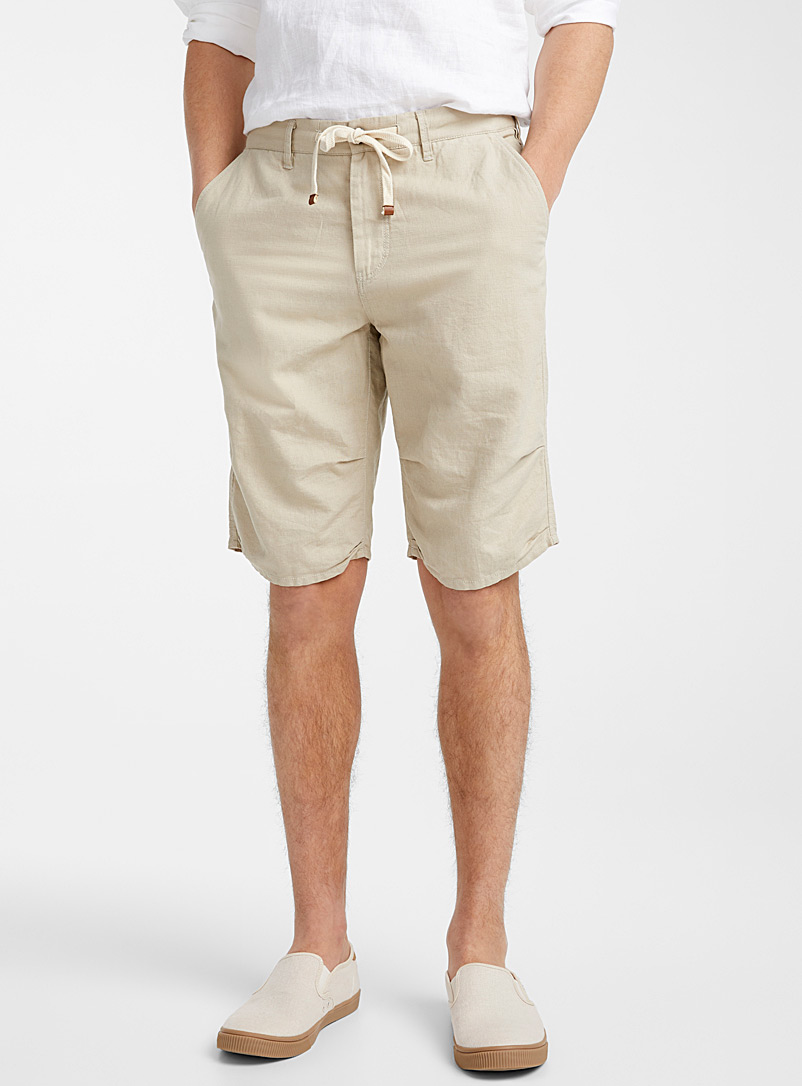 Le 31 Ecru/Linen Adjustable waist organic cotton and linen Bermudas for men