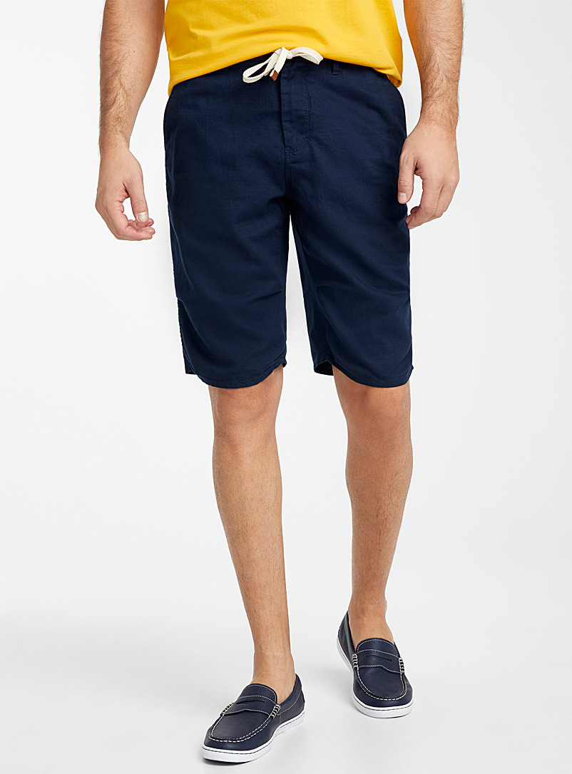 Le 31 Marine Blue Adjustable waist organic cotton and linen Bermudas for men