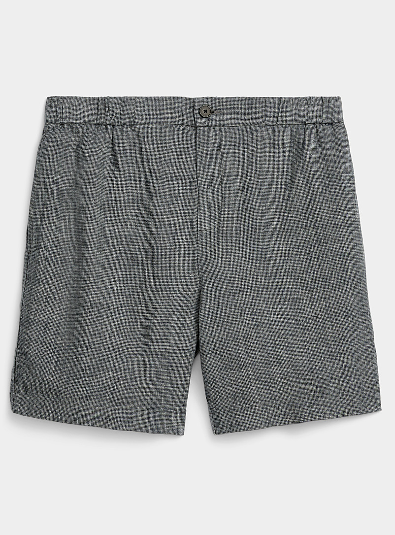 Le 31 Marine Blue Pure linen gingham Bermudas for men