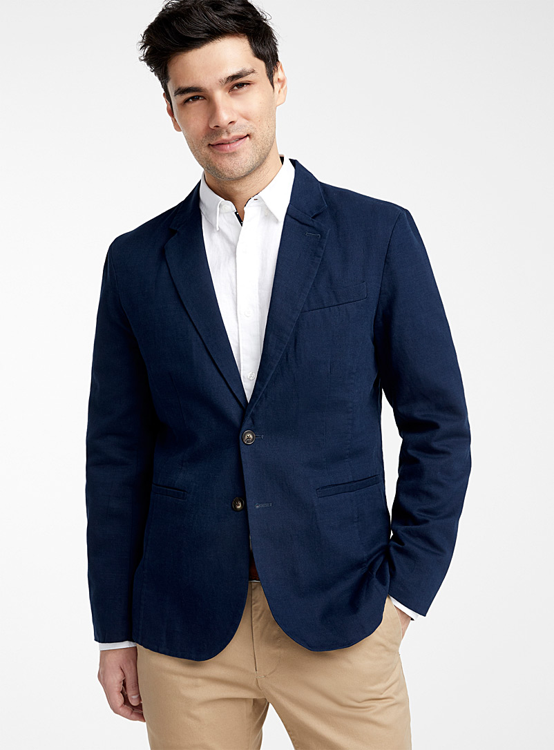Le 31 Ecru/Linen Organic cotton and linen jacket  London fit-Semi-slim for men