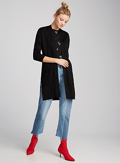 Side-vent long cardigan