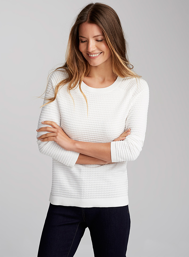 Embossed-squares sweater - Sweaters - Ivory White