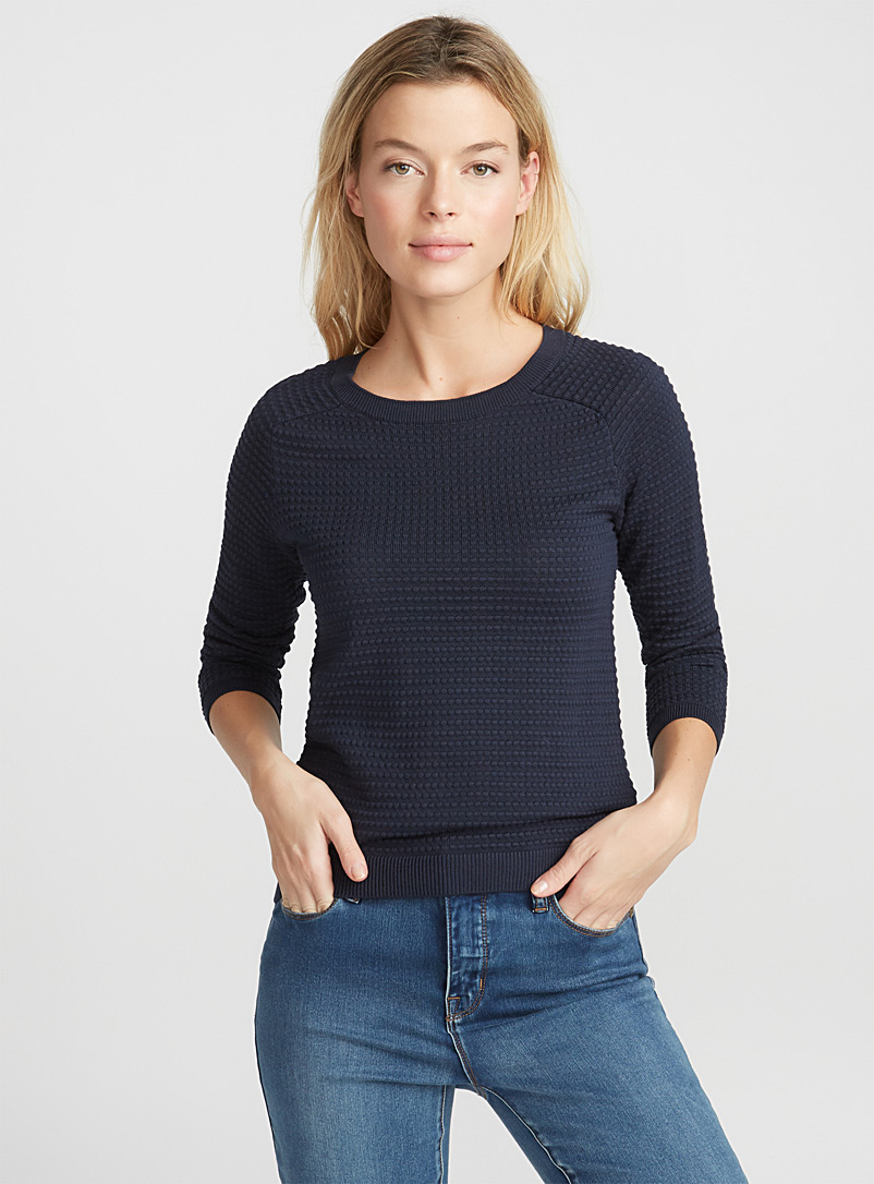 Embossed-squares sweater - Sweaters - Marine Blue