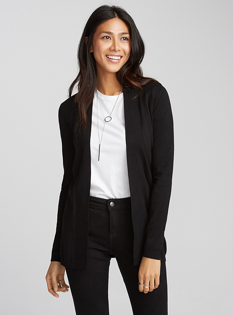 Contemporaine Black Open-front minimalist cardigan for women