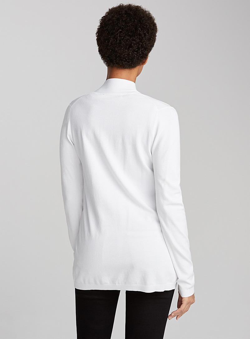 Open-front minimalist cardigan - Cardigans - Patterned White