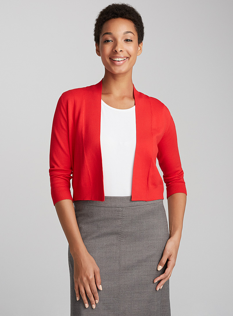 Shiny knit bolero - Cardigans - Patterned Red