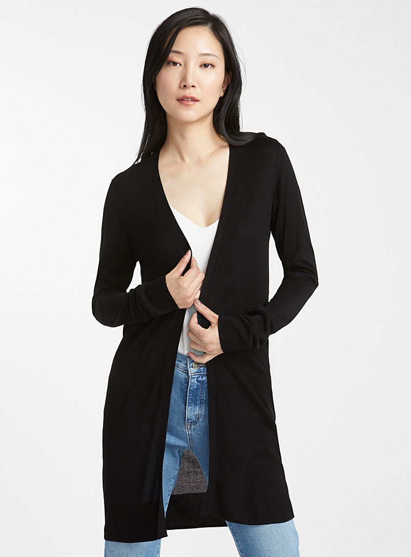 Minimalist long cardigan - Cardigans - Black