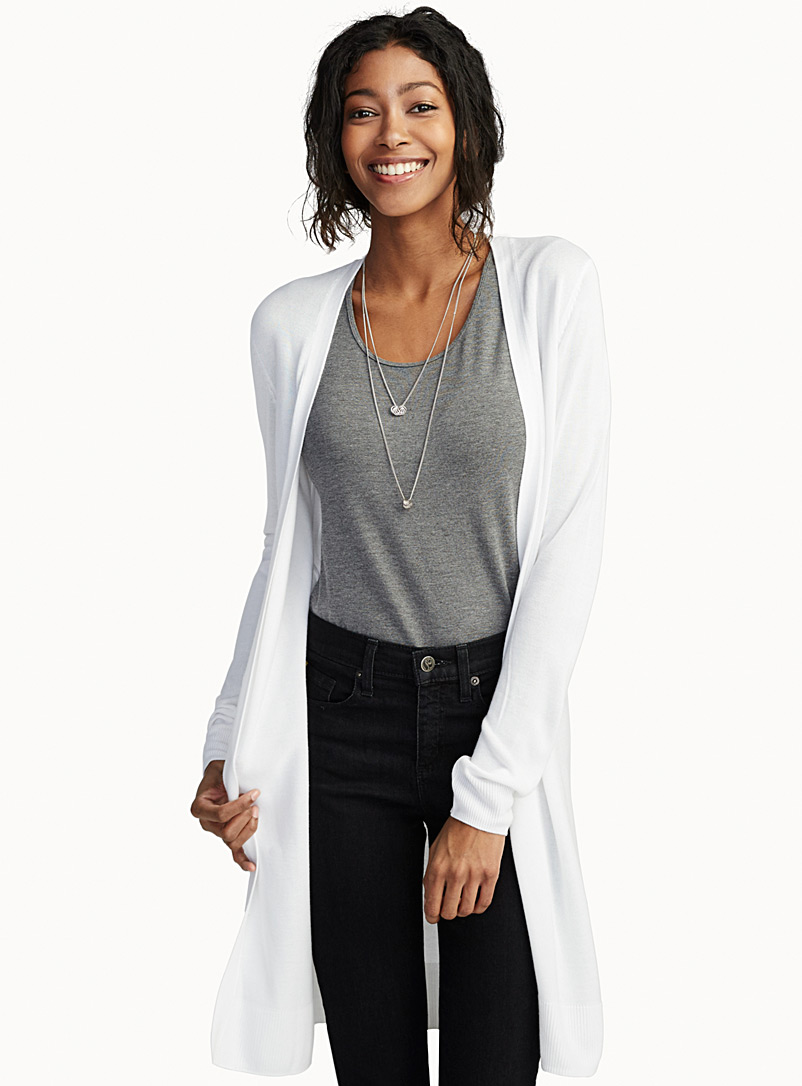Contemporaine White Minimalist long fluid cardigan for women
