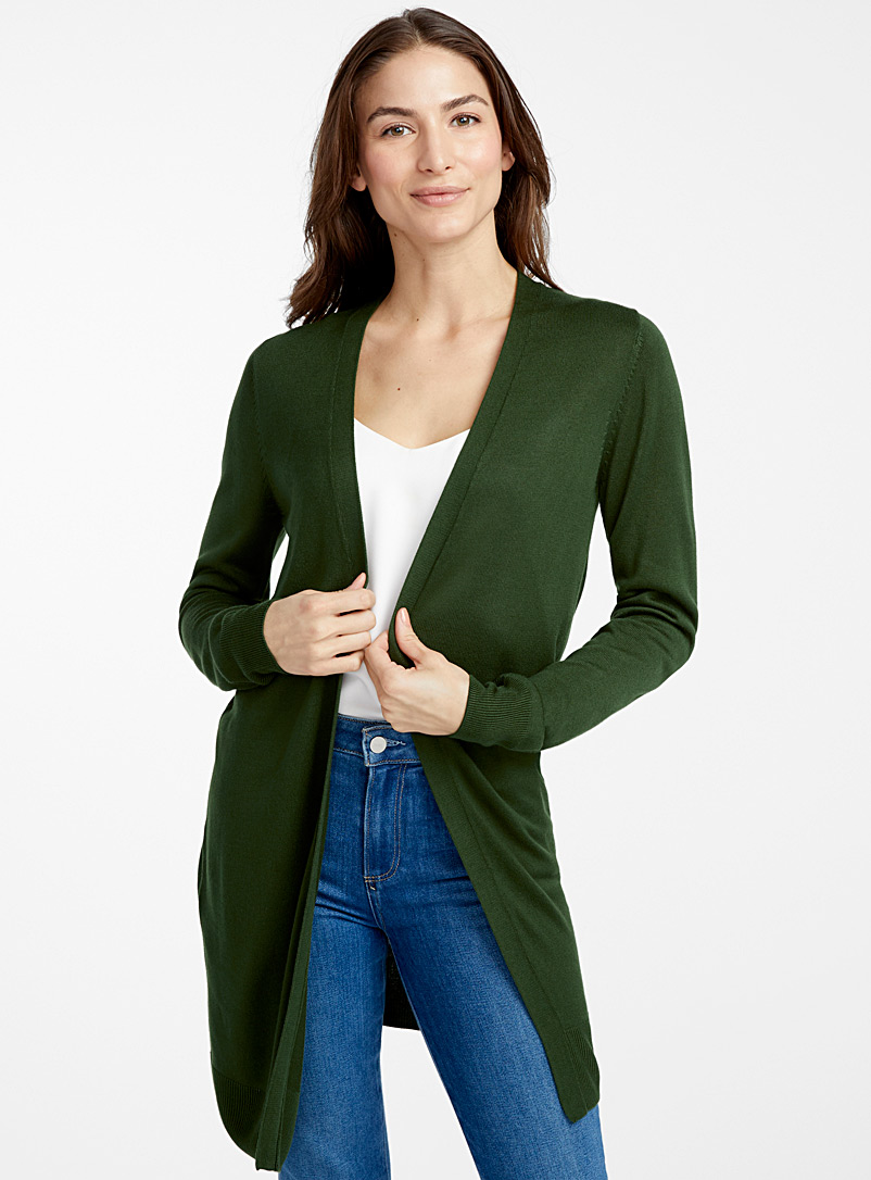 Contemporaine Mossy Green Minimalist long fluid cardigan for women