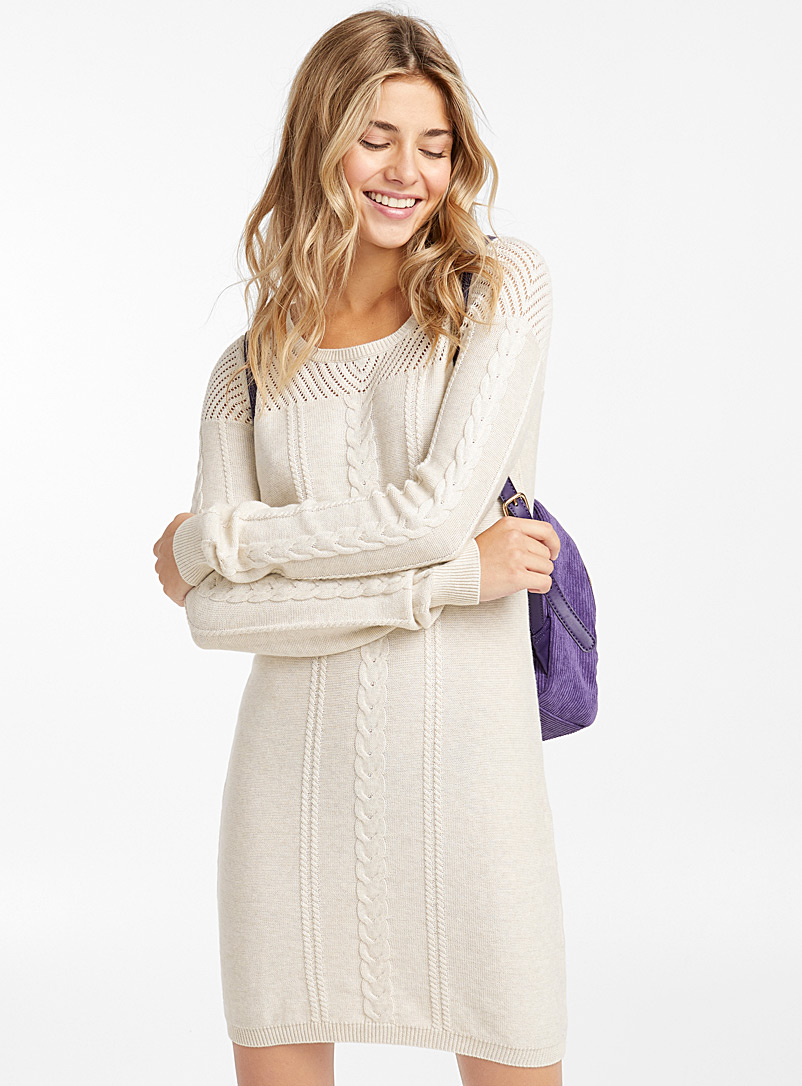 Cable knit dress - Bodycon - White