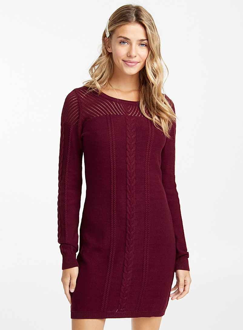 Cable knit dress - Bodycon - Ruby Red