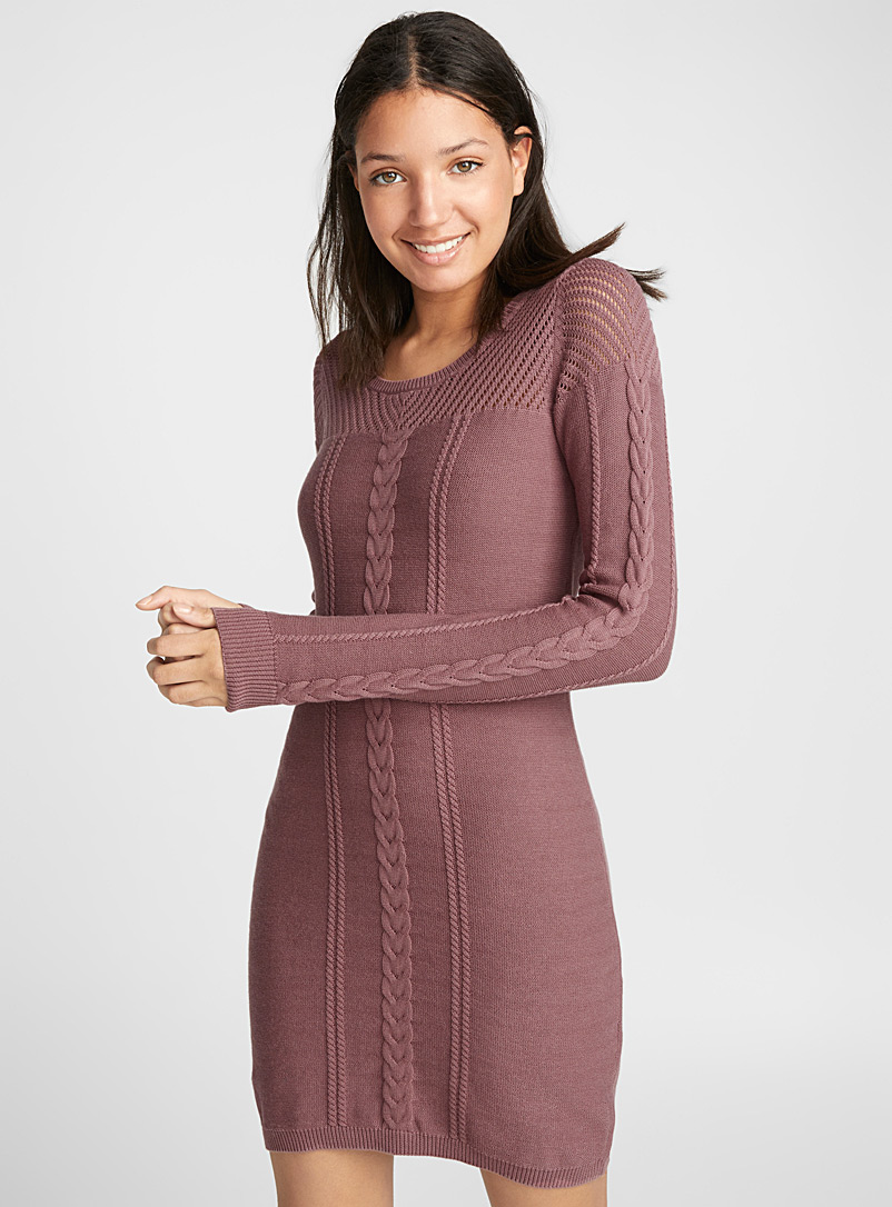 Cable knit dress - Bodycon - Medium Pink