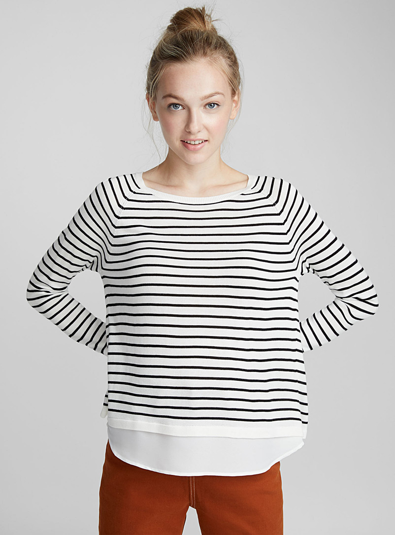 2-in-1 fooler sweater - Sweaters - Ivory White