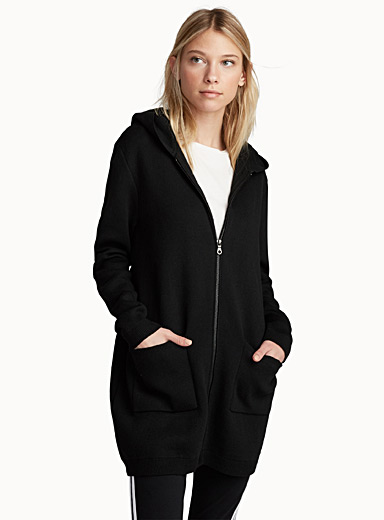 Le long cardigan zip métallique