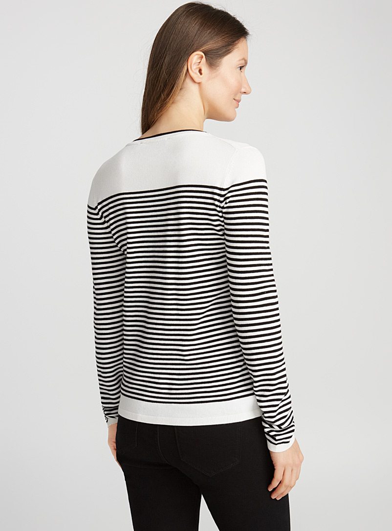 Two-tone striped sweater - Sweaters - Ivory White