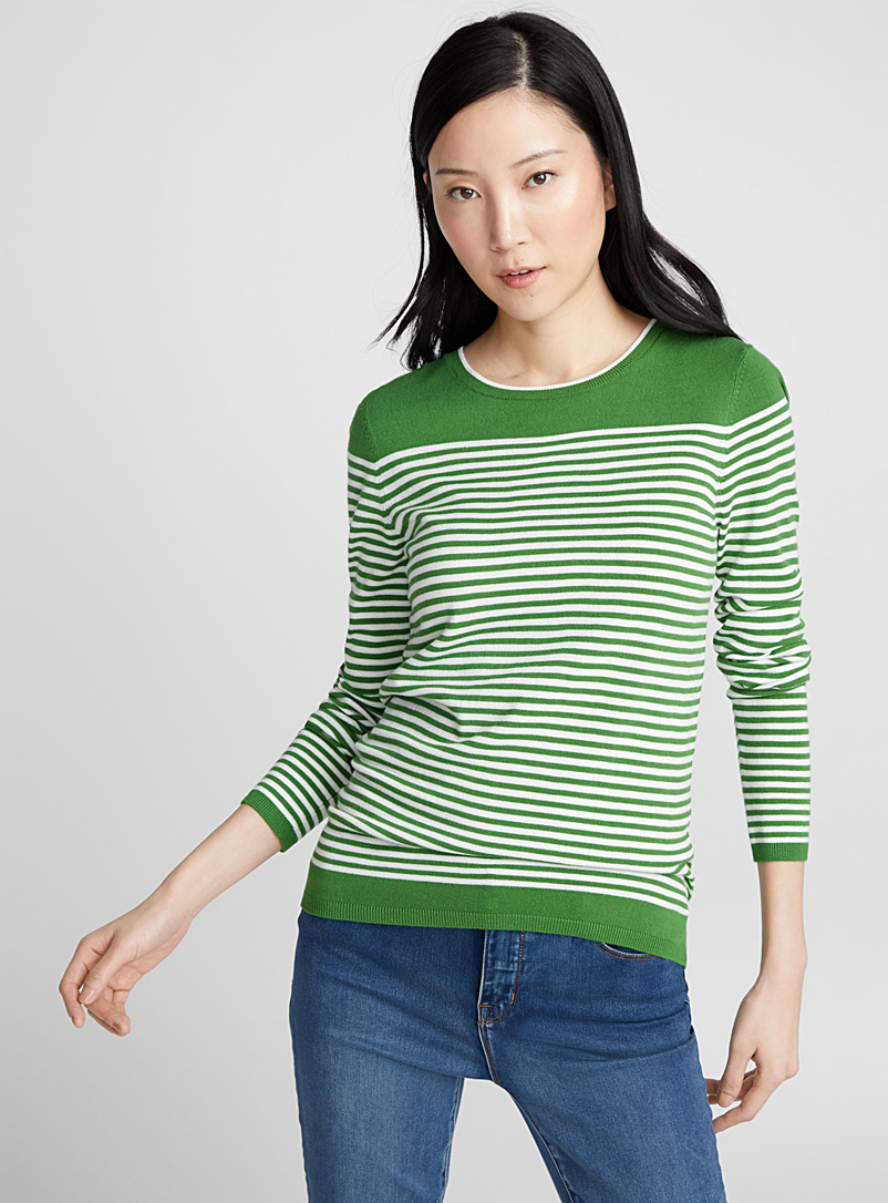 Two-tone striped sweater - Sweaters - Mossy Green
