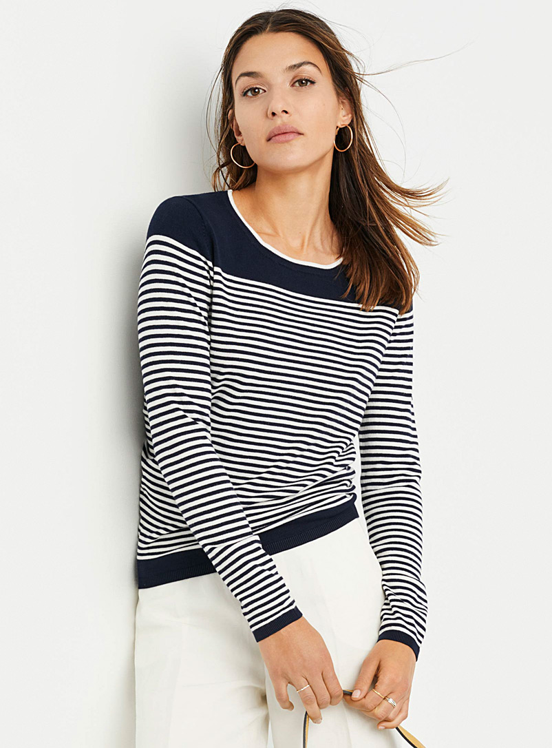 Contemporaine Marine Blue Contrasting-stripe sweater for women