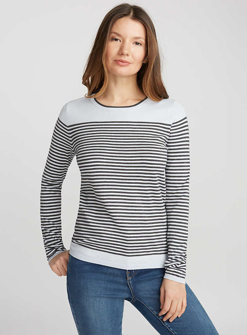 Two-tone striped sweater - Sweaters - Baby Blue