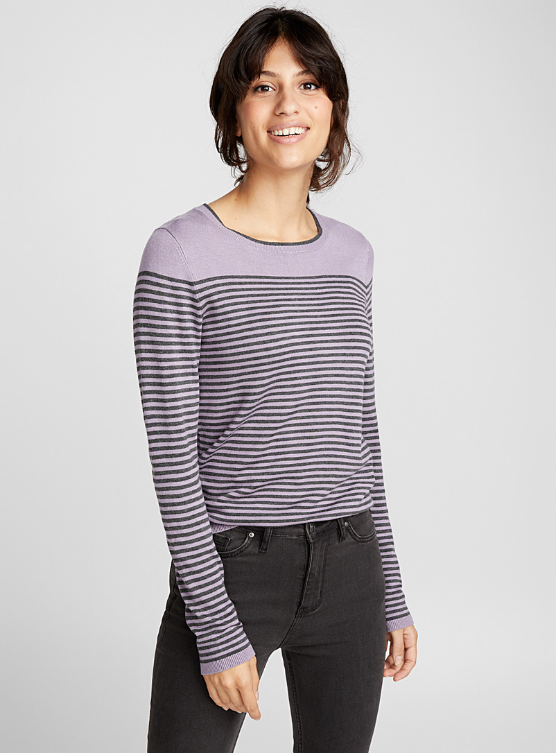 Le pull rayure bicolore - Pulls - Violet