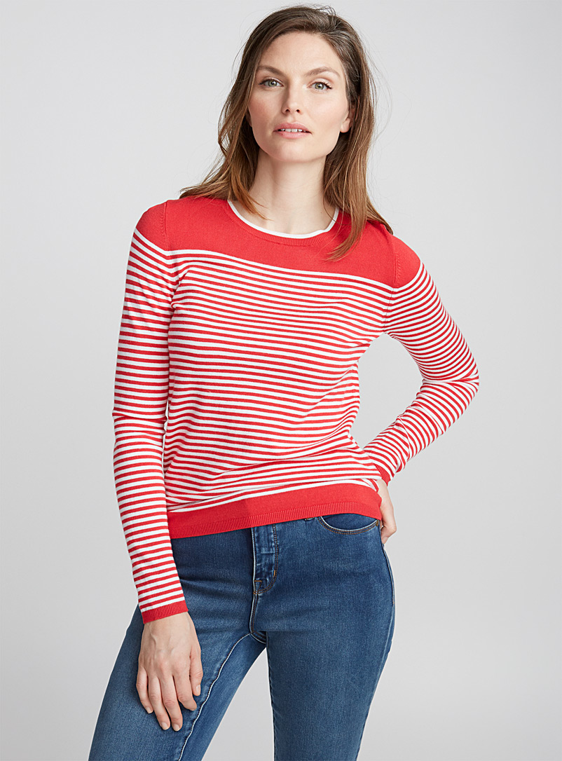 Two-tone striped sweater - Sweaters - Light Red