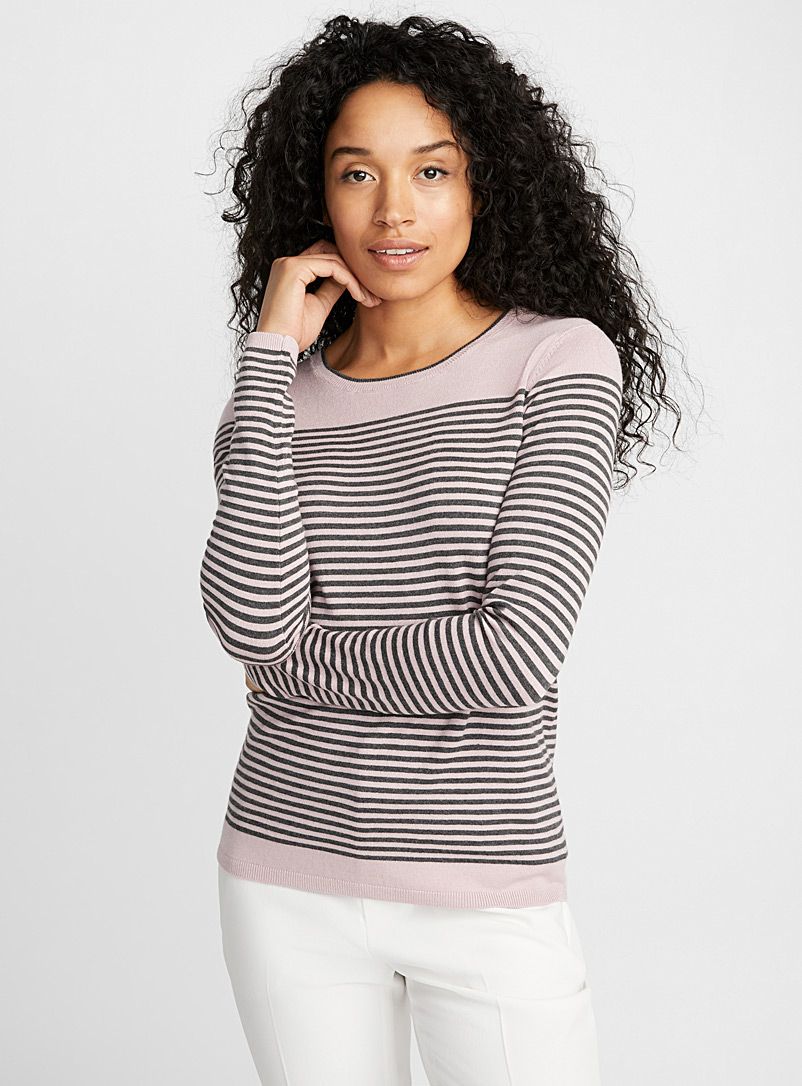 Two-tone striped sweater - Sweaters - Dusky Pink