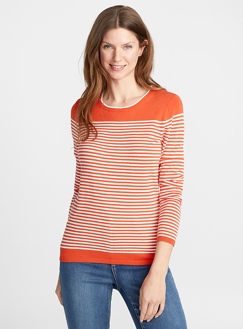 Le pull rayure bicolore - Pulls - Orange