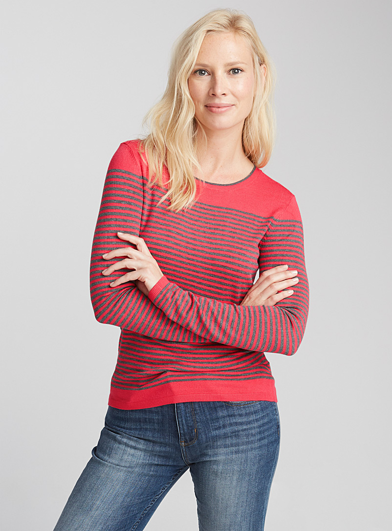 Two-tone striped sweater - Sweaters - Coral