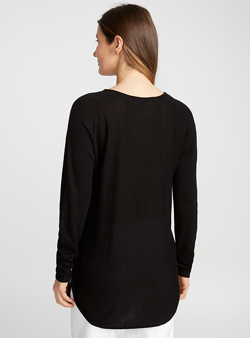 Contemporaine Black Rounded-hem knit tunic for women