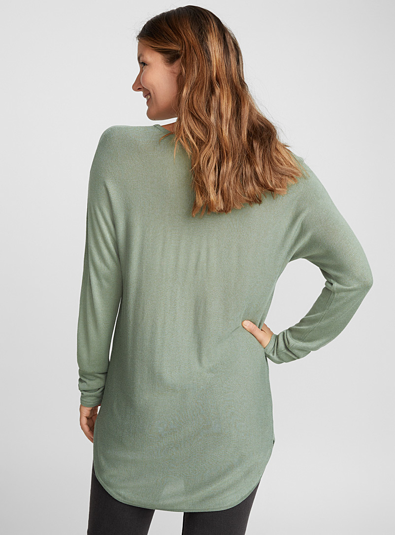 Rounded-hem knit tunic - Sweaters - Kelly Green