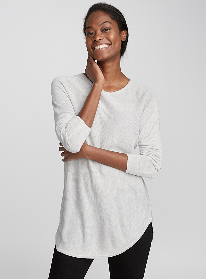 Rounded-hem knit tunic - Sweaters - Grey