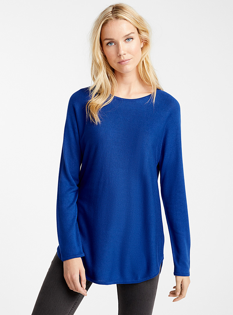 Rounded-hem knit tunic - Sweaters - Blue