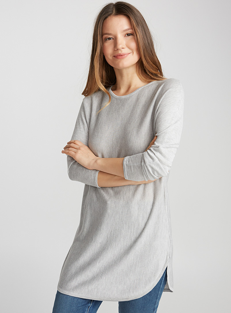 Rounded-hem knit tunic - Sweaters - Light Grey